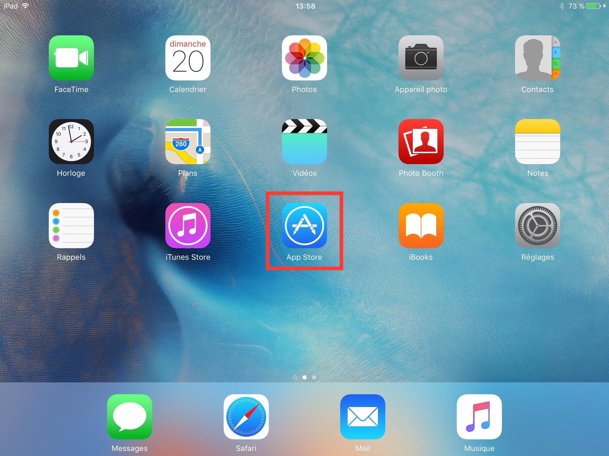 Pour mise à jour d'apps, appuyez sur App Store