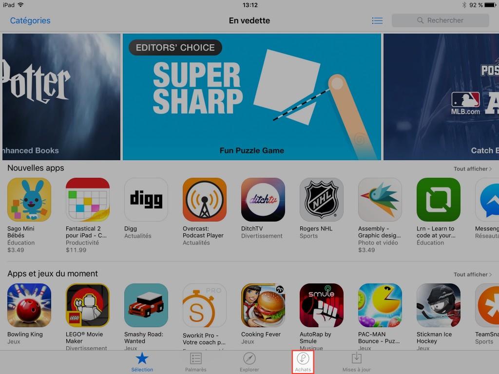 Retrouver vos achats - App Store - 2