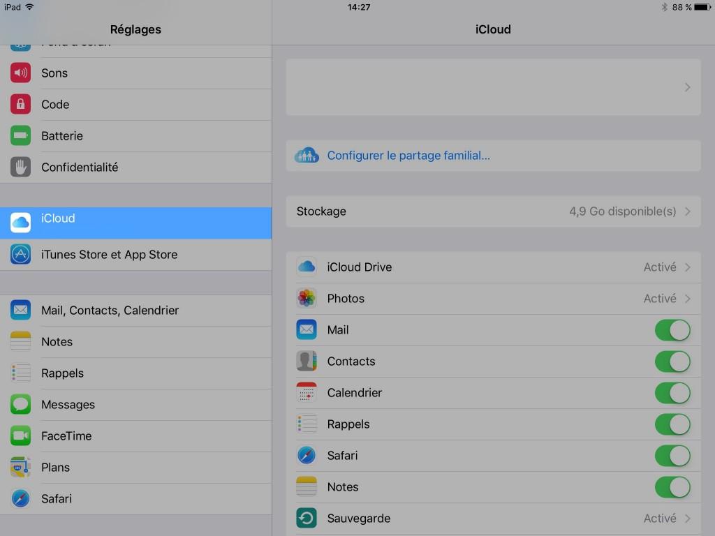 iCloud - verification de la configuration - réglages - P'tit Pépin