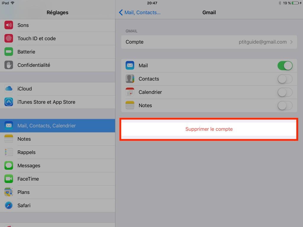 Gmail - Effacer - Email - iCloud - iPad - iPhone - Ptit Pepin - données personnelles