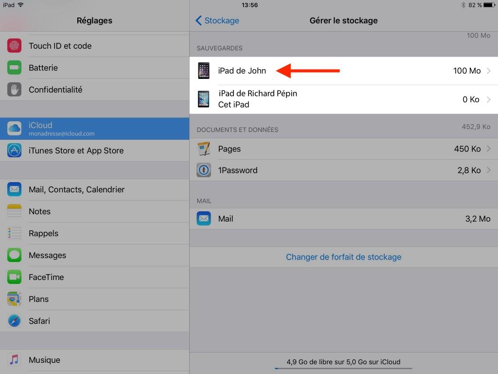 Gestion manuelle - sauvegarde - iCloud - backup