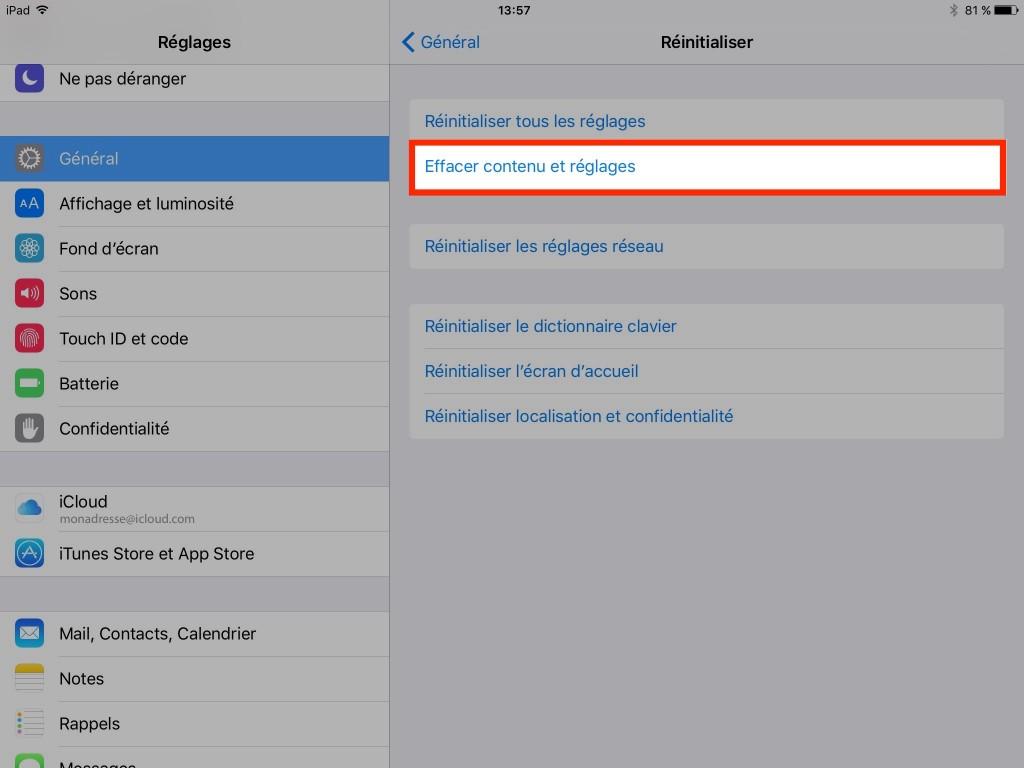 Effacer contenu et réglages - iPad - iPhone - iPod - Ptit Pepin
